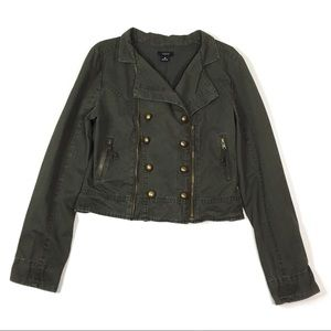 Max Rave Cropped Biker Moto Cotton Jacket Medium